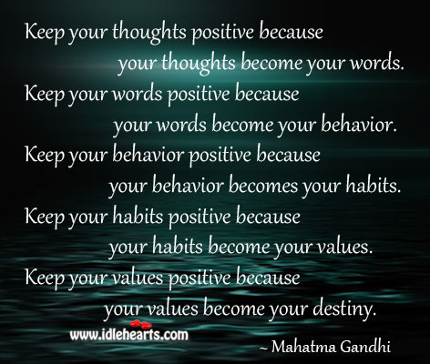 Keep your thoughts positive because your thoughts become your words. Image