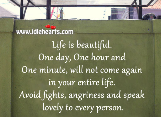 Avoid fights, angriness and speak lovely to every person. Life is Beautiful Quotes Image