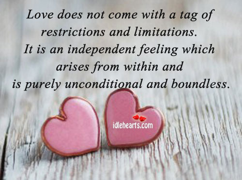 Love does not come with a tag of. Image