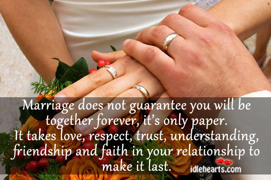 Image, Marriage does not guarantee you will be together forever.