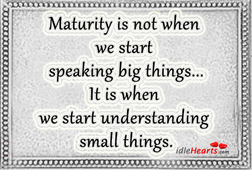 Maturity Is In Understanding Little Things