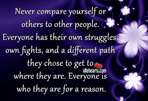 Never Compare Yourself Or Others To Other People.