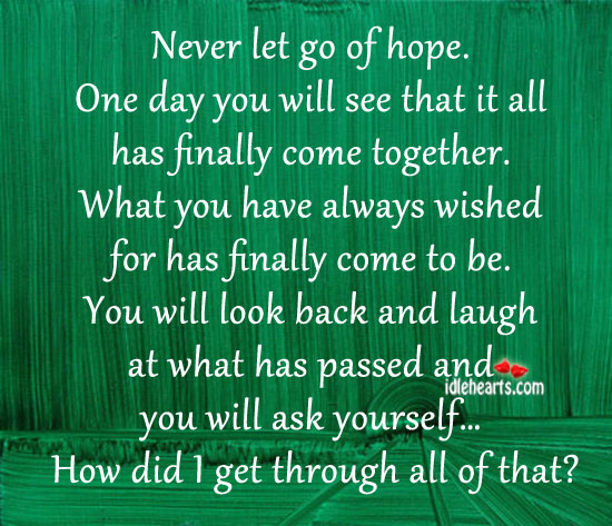Never let go of hope. One day you will be surprised. Let Go Quotes Image