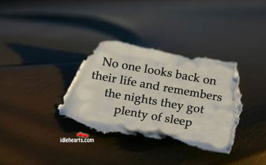 No one looks back on their life and Image