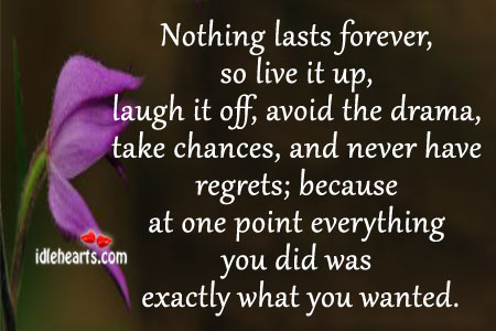 Image, Avoid, Because, Chances, Did, Drama, Everything, Exactly, Forever, Last, Lasts, Laugh, Live, Live It Up, Never, Nothing, Nothing Lasts Forever, Off, Point, Regrets, Take, Up, Wanted, Was, You
