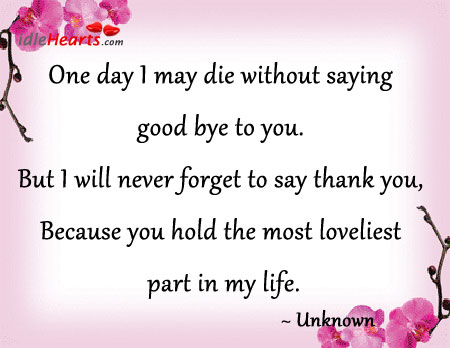 One Day I May Die Without Saying Good Bye To You.