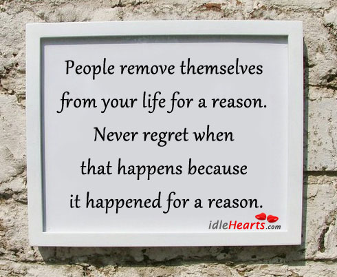 People remove themselves from your life for a reason. Never Regret Quotes Image