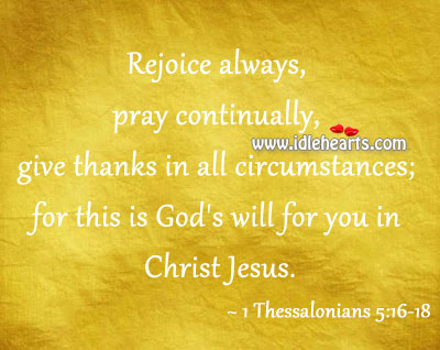 This is God's will for you in christ jesus. Image