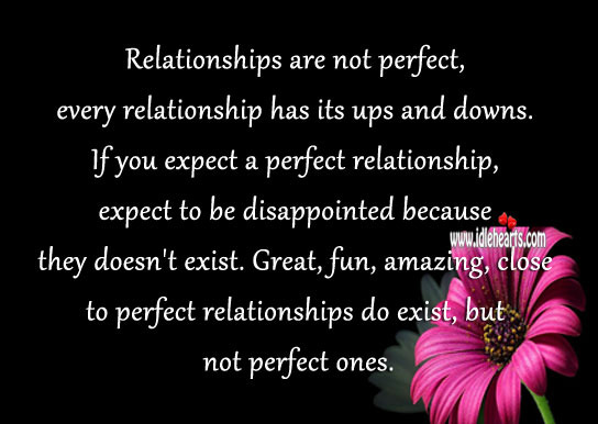 Relationships are not perfect it has ups and downs. Expect Quotes Image
