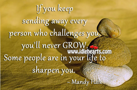 Some people are in your life to sharpen you. Mandy Hale Picture Quote