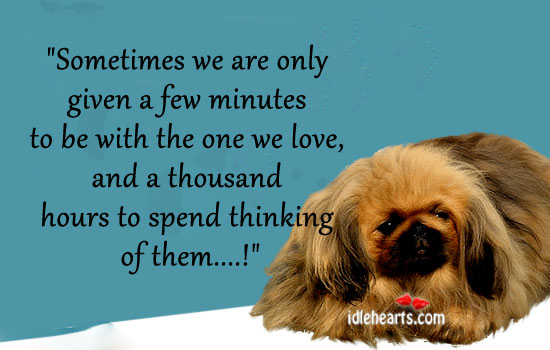 Sometimes We Are Only Given A Few Minutes To Be With The One We Love