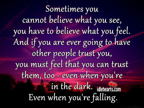 Sometimes You Cannot Believe What You See..