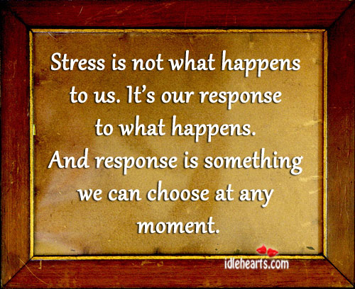Stress is Not What Happens to Us.