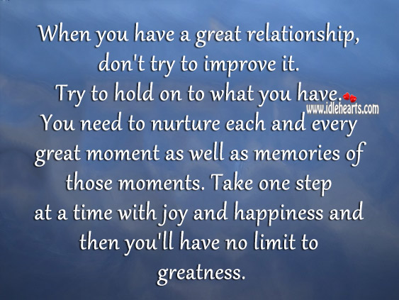 When you have a great relationship, don't try to improve it. Joy and Happiness Quotes Image