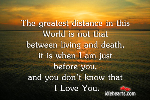 The Greatest Distance In This World