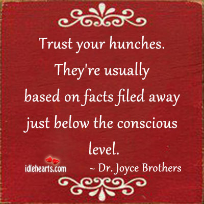 Trust Your Hunches. They're Usually Based On…