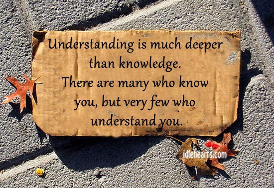 Understanding Is Much Deeper Than Knowledge.