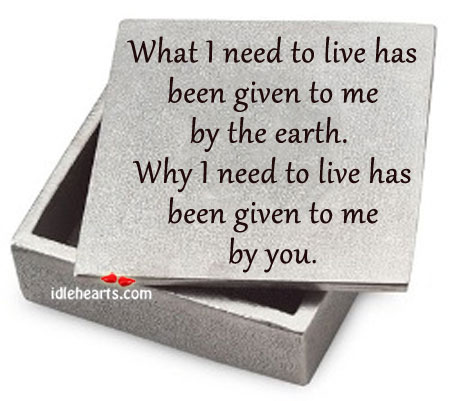 What I Need To Live Has Been Given To Me By The Earth.