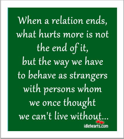 When A Relation Ends, What Hurts More Is Not The End Of It…