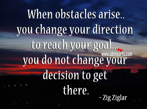 When Obstacles Arise You Change Your Direction To Reach Your Goal