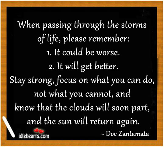 When Passing Through The Storms Of Life. Stay Strong.