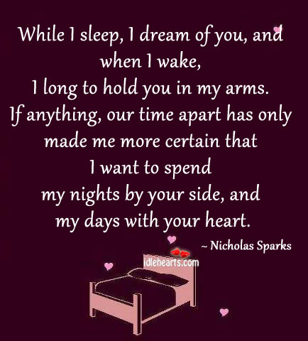 While I sleep, I dream of you. Nicholas Sparks Picture Quote