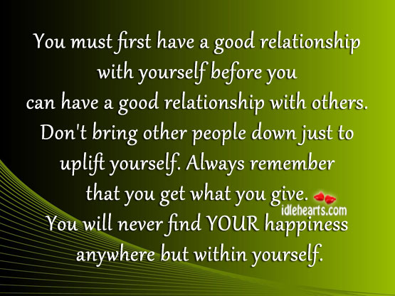 You must first have a good relationship with yourself before Image