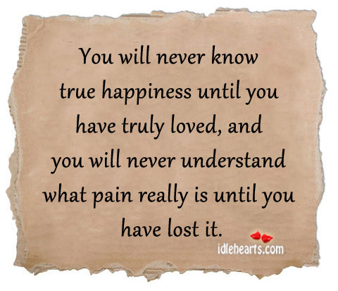 You Will Never Know True Happiness Until You Have Truly Loved…