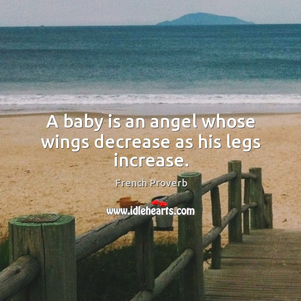 Image, A baby is an angel whose wings decrease as his legs increase.