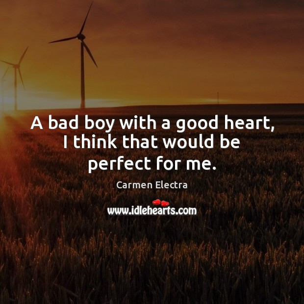 Image, A bad boy with a good heart, I think that would be perfect for me.