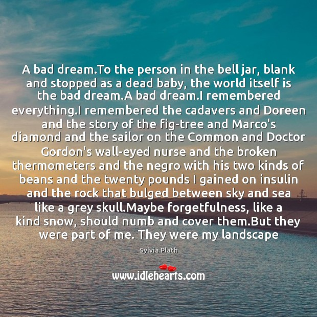 A bad dream.To the person in the bell jar, blank and Image