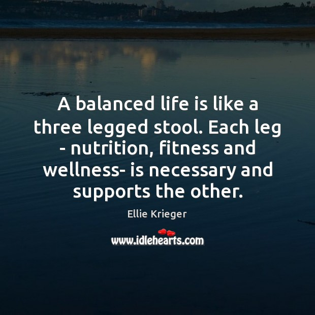 A balanced life is like a three legged stool. Each leg – Fitness Quotes Image