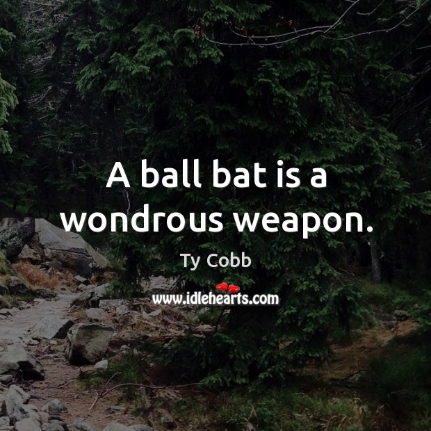 A ball bat is a wondrous weapon. Image