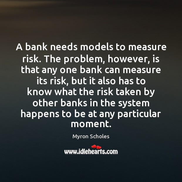 Image, A bank needs models to measure risk. The problem, however, is that