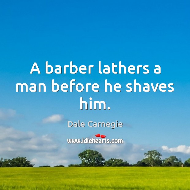 Image, A barber lathers a man before he shaves him.