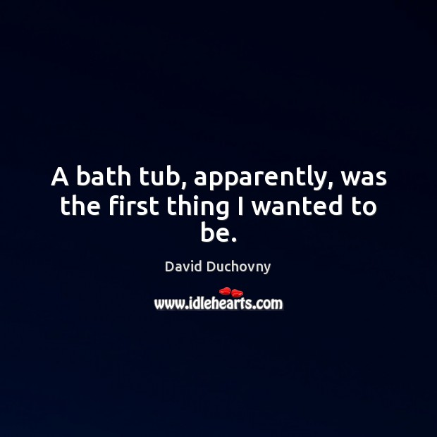 A bath tub, apparently, was the first thing I wanted to be. David Duchovny Picture Quote