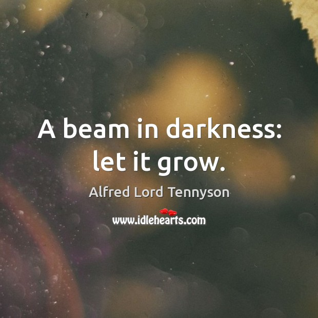 Image, A beam in darkness: let it grow.