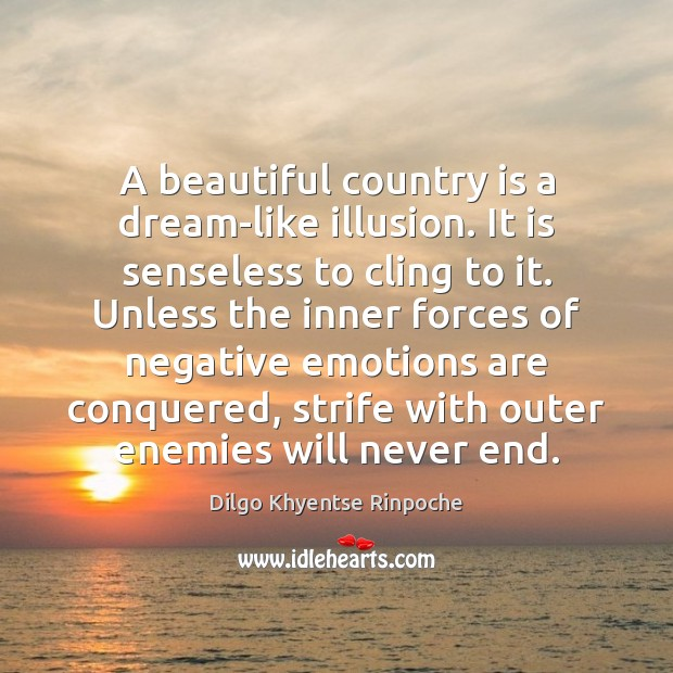A beautiful country is a dream-like illusion. It is senseless to cling Dilgo Khyentse Rinpoche Picture Quote