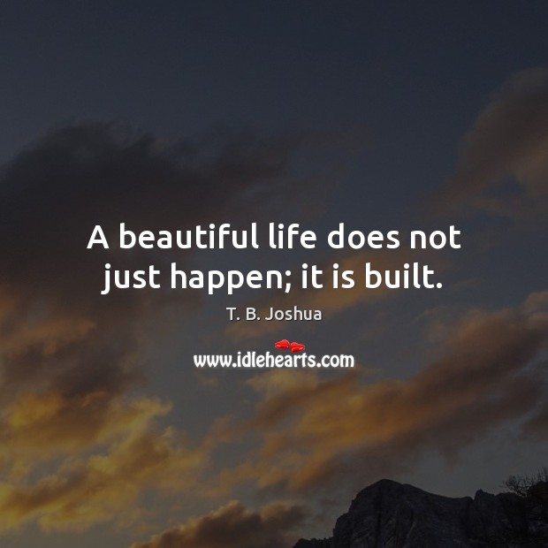 A beautiful life does not just happen; it is built. T. B. Joshua Picture Quote