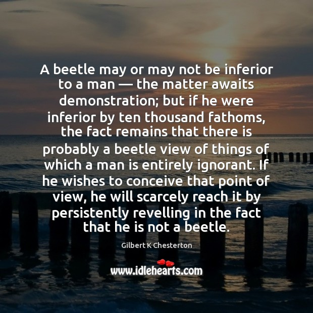 A beetle may or may not be inferior to a man — the Image
