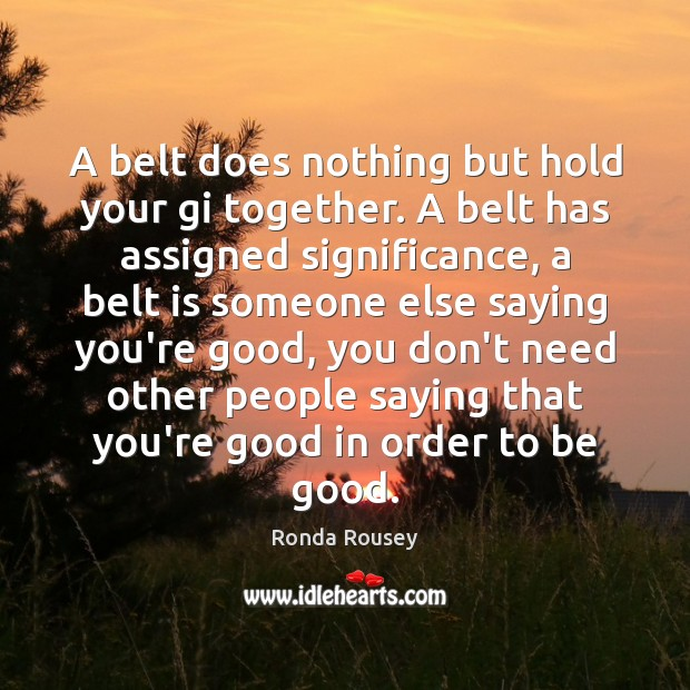 A belt does nothing but hold your gi together. A belt has Good Quotes Image