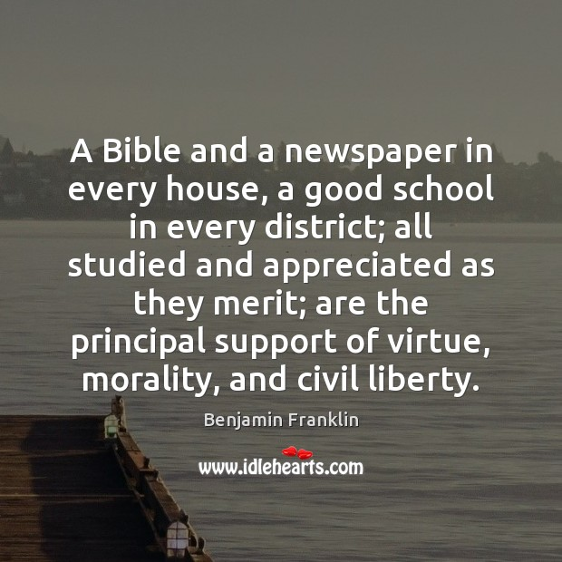 Image, A Bible and a newspaper in every house, a good school in