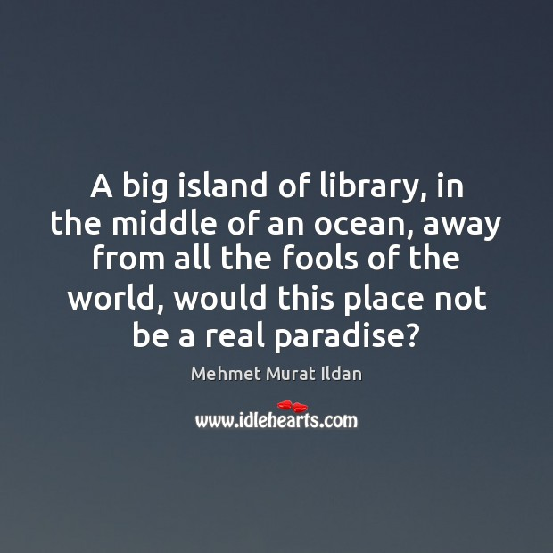 Image, A big island of library, in the middle of an ocean, away