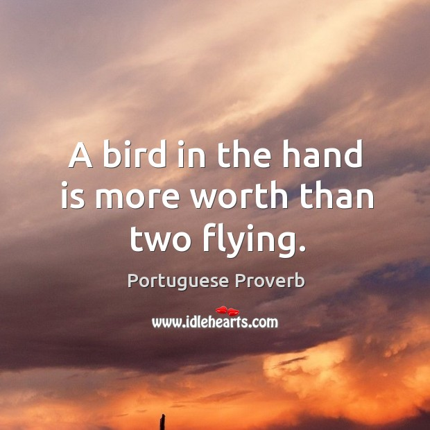 A bird in the hand is more worth than two flying. Image