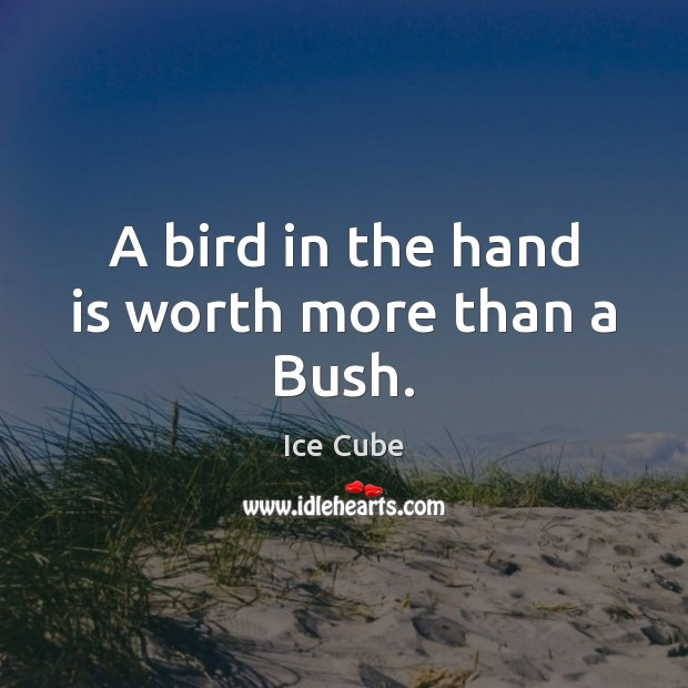 A bird in the hand is worth more than a Bush. Image