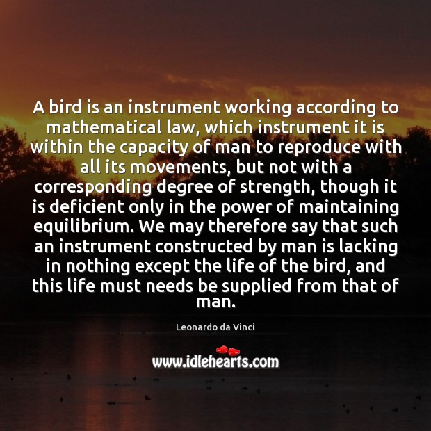 A bird is an instrument working according to mathematical law, which instrument Image