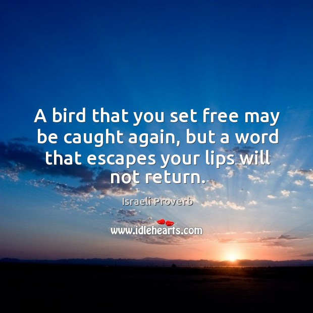A bird that you set free may be caught again Israeli Proverbs Image