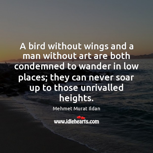 Image, A bird without wings and a man without art are both condemned