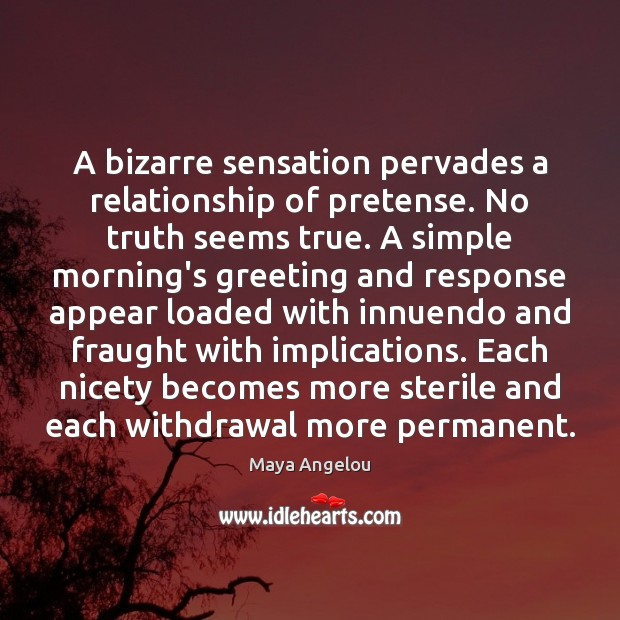 Image, A bizarre sensation pervades a relationship of pretense. No truth seems true.