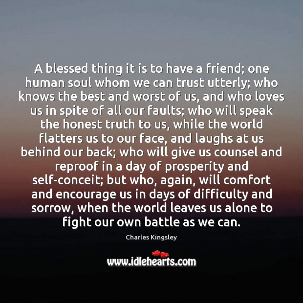 A blessed thing it is to have a friend; one human soul Charles Kingsley Picture Quote